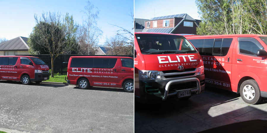 Two photos side by side of the Christchurch Company, Elite Cleaning Services vehicles positioned on the road ready to go to their next upholstery or carpet cleaning job, on the left we see the vehicles from a side on angle showing the logo and the services provided, carpet cleaning, upholstery cleaning and some locations Rangiora, Kaiapoi and Christchurch. The right side of the photo shows the vehicles from the front angle ready to drive out on