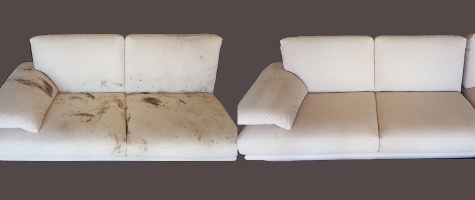 Two photos side by side both are showing the same couch before and after being upholstery cleaned. The left side of the photo is showing the couch covered in dirt, wine and footprints. the right side of the photo is showing the same couch after the upholstery cleaning and the couch is now white and clean without any marks or dirt from before it had been cleaned